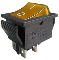 vypínač kolískový ON-OFF 2pól. 250V / 15A, žltý