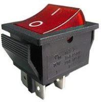 vypínač kolískový ON-OFF 2pól. 250V / 15A, červený s tlejivkou